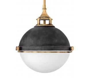 Fletcher Loftlampe i stål og glas Ø33,9 cm 3 x E27 - Aldret zink/Antik messing/Opalhvid