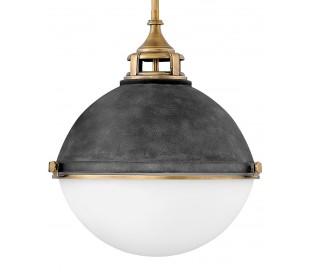Fletcher Loftlampe i stål og glas Ø45,7 cm 3 x E27 - Aldret zink/Antik messing/Opalhvid