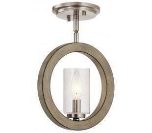 Grand Bank Loftlampe i stål og træ B22,8 cm 1 x E14 - Aldret blik/Antik grå/Klar med dråbeeffekt
