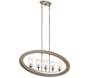 Grand Bank Loftlampe i stål og træ B91,4 cm 5 x E14 - Aldret blik/Antik grå/Klar med dråbeeffekt
