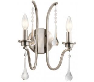 Karlee Væglampe i stål og glas H38,1 cm 2 x E14 - Antik blikgrå/Klar