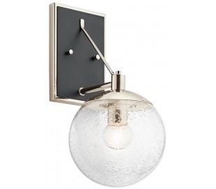 Marilyn Væglampe i stål og glas H39,2 cm 1 x E27 - Sort/Poleret nikkel/Klar med dråbeeffekt