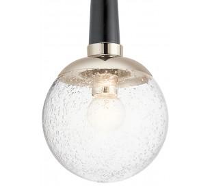 Marilyn Loftlampe i stål og glas Ø19,5 cm 1 x E27 - Sort/Poleret nikkel/Klar med dråbeeffekt