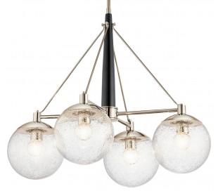 Marilyn Lysekrone i stål og glas Ø70,3 cm 4 x E27 - Sort/Poleret nikkel/Klar med dråbeeffekt