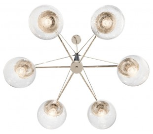 Marilyn Lysekrone i stål og glas Ø88 cm 6 x E27 - Sort/Poleret nikkel/Klar med dråbeeffekt