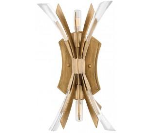 Vida Væglampe i stål og glas H43,8 cm 2 x E14 - Børstet guld/Klar