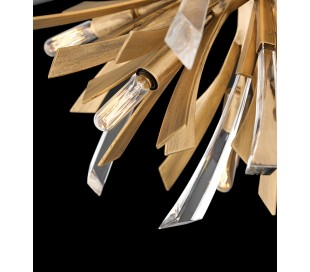 Vida Lysekrone i stål og glas Ø92 cm 13 x E14 - Børstet guld/Klar