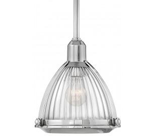 Elroy Loftlampe i stål og glas Ø24,8 cm 1 x E27 - Poleret nikkel/Klar rillet