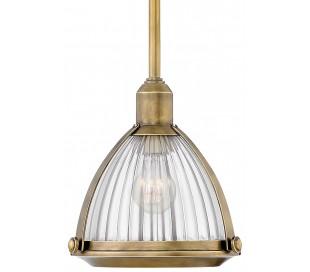 Elroy Loftlampe i stål og glas Ø24,8 cm 1 x E27 - Antik messing/Klar rillet