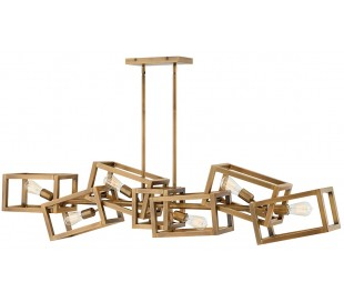 Ensemble Lysekrone i stål 156 x 19 cm 6 x E27 - Børstet bronze