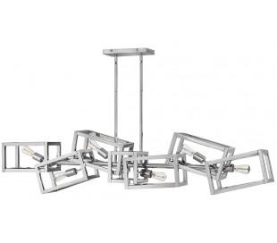 Ensemble Lysekrone i stål 156 x 19 cm 6 x E27 - Poleret nikkel