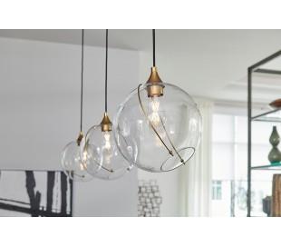 Skye Loftlampe i stål og glas Ø27,4 cm 1 x E27 - Antik messing/Klar