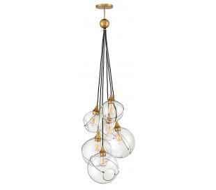Skye Loftlampe i stål og glas Ø59 cm 6 x E27 - Antik messing/Klar