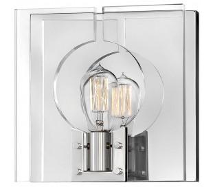 Ludlow Væglampe i stål og glas 26,2 x 26,2 cm 1 x E27 - Poleret nikkel/Klar