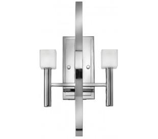 Mondo Væglampe i stål og glas H50 cm 2 x G9 LED - Poleret krom/Frostet hvid