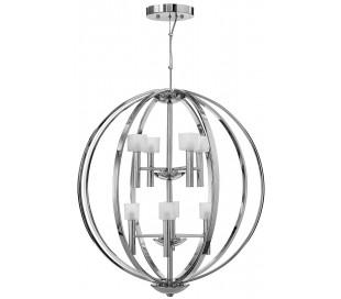 Mondo Lysekrone i stål og glas Ø71,3 cm 8 x G9 LED - Poleret krom/Frostet hvid