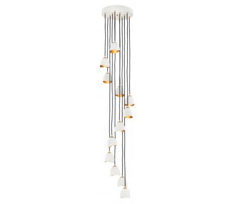 Nula Loftlampe i stål Ø37 - 152 cm 12 x E14 - Hvid/Guld