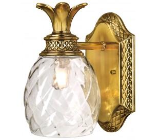 Plantation badeværelseslampe i stål og glas H21,9 cm 1 x G9 LED - Børstet messing/Klar