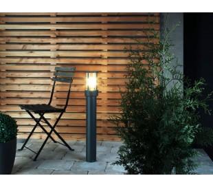 Arbinto Bedlampe i aluminium og kunststof H80 cm 1 x E27 - Mørkegrå/Klar