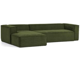 Blok venstrevendt chaiselong sofa i velour ripcurl 330 x 174 cm - Grøn