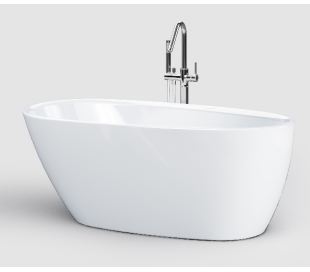 INBE fritstående badekar 150 x 73 cm Akryl - Hvid