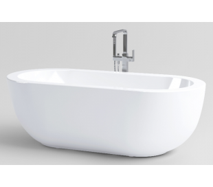 INBE fritstående badekar 180 x 85 cm Akryl - Hvid