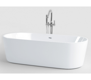 INBE fritstående badekar 178 x 80 cm Akryl - Hvid