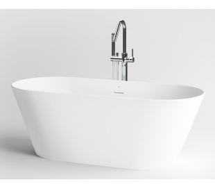 SOLIUM fritstående badekar 160 x 70 cm Aluite - Mat hvid