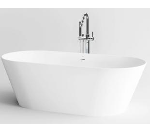 SOLIUM fritstående badekar 175 x 80 cm Aluite - Mat hvid