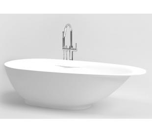 FIRST fritstående badekar 182 x 82 cm Aluite - Mat hvid