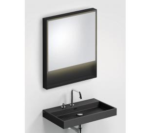 LOOK AT ME vægspejl med lys IP44 80 x 70 cm - Mat sort