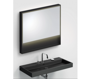 LOOK AT ME vægspejl med lys IP44 80 x 90 cm - Mat sort