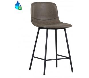 Mikky Barstol i øko-læder H96 - 107 cm - Sort/Vintage olivengrøn