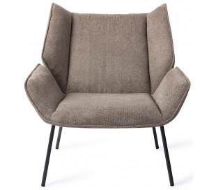 Haruno Lænestol i polyester H89 cm - Sort/Karamelbrun