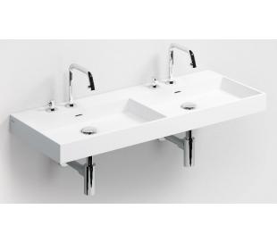 WASH ME Dobbelt håndvask 110 x 42 cm Aluite - Mat hvid