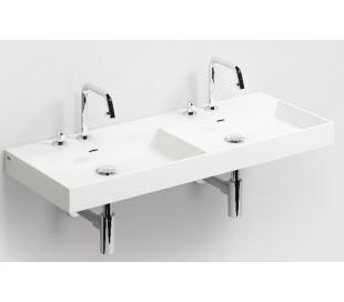 WASH ME Dobbelt håndvask 110 x 42 cm Mineral - Hvid højglans