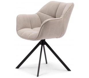 Carnaby rotérbar spisebordsstol i linned og metal H80 cm - Sort/Sand