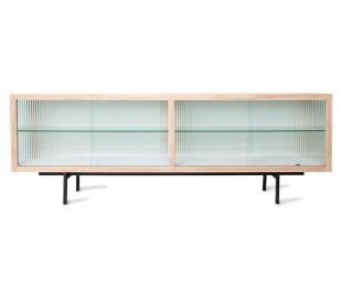 Lowboard i ask træ, glas og metal H55 x B159,5 cm - Sort/Natur