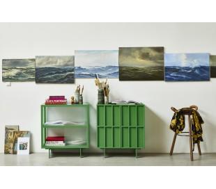 Sideboard i ask træ, glas og metal H89 x B80 cm - Grøn