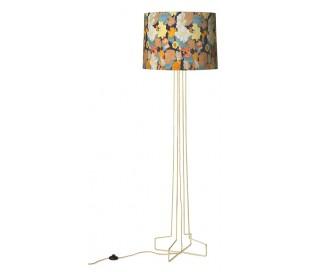 Retro gulvlampe i metal og tekstil H175 cm - Guld/Blomstret