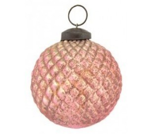 Julekugle Ø7 cm Glas - Oxideret pink
