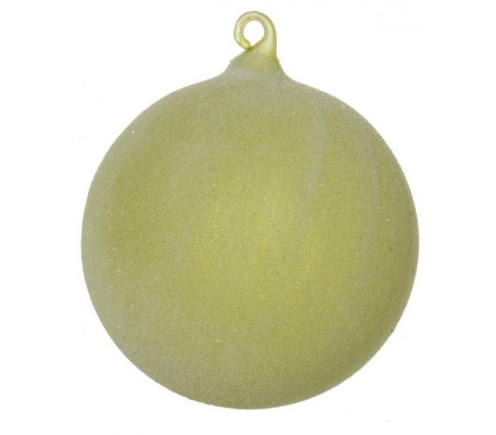 Billede af Julekugle Ø10 cm Glas - Frostet grøn