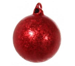 Julekugle Ø6 cm Glas - Frostet rød (2)