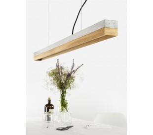Langbordspendel i beton og egetræ 122 cm 30W LED - Lys beton/Eg