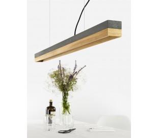 Langbordspendel i beton og egetræ 122 cm 18W LED - Mørk beton/Eg