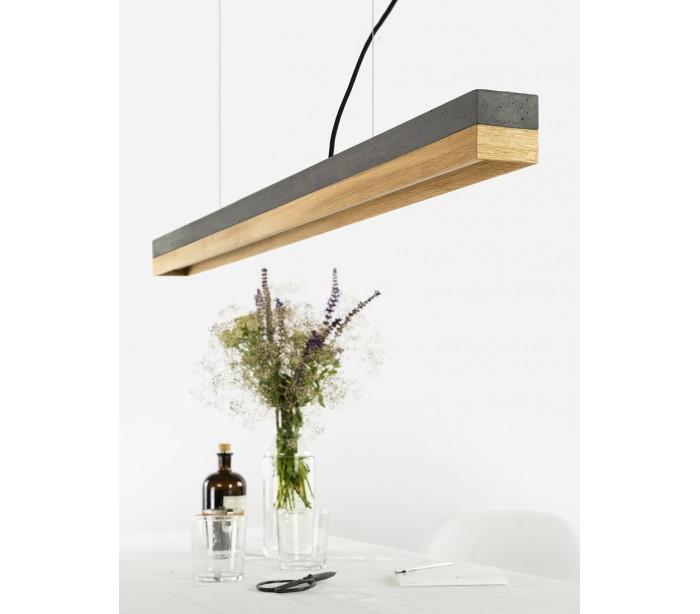 gantlights – Langbordspendel i beton og egetræ 122 cm 30w led - mørk beton/eg på lepong.dk