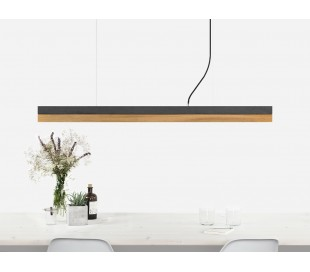 Langbordspendel i beton og egetræ 122 cm 30W LED - Mørk beton/Eg