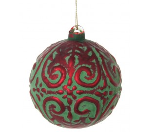 Julekugle Ø6 cm Glas - Mat grøn