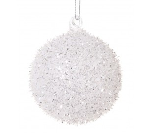 Julekugle i glas Ø8 cm - Hvid/Sølv