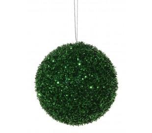 Julekugle med glimmereffekt Ø8 cm - Grøn